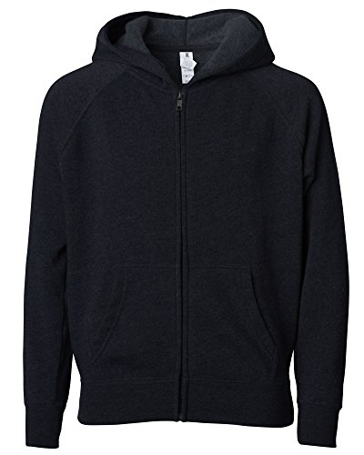 Global Blank Youth Lightweight Zip Up Fleece Sweatshirt Large Black Hoodie for Boys and Girls