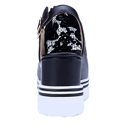 AIYOUMEI Damen Peep Toe Peep Toe Slingback Sandalen mit Keilabsatz Damen Schwarz