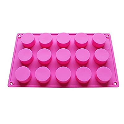 BAKER DEPOT 15 Holes Cylinder Silicone Mold For Handmade soap, jelly, Pudding, Cake Baking Tools, Hole Dia: 1.58inch Set of 2 from Yiwu Snow Arts & Crafts Factory