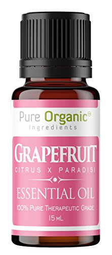 Pure Organic Ingredients Grapefruit Essential Oil 15 ml, Convenient Dropper Cap Bottle, Promotes Clear Healthy Skin, Supports Healthy Metabolism, Energizing & Uplifting Aroma