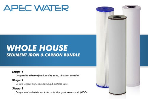 APEC 3-Stage Whole House Water Filter System with Iron, Sediment and Chlorine Filters (CB3-SED-IRON-CAB20-BB)