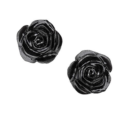 Black Rose Studs Pair of Earrings by Alchemy Gothic