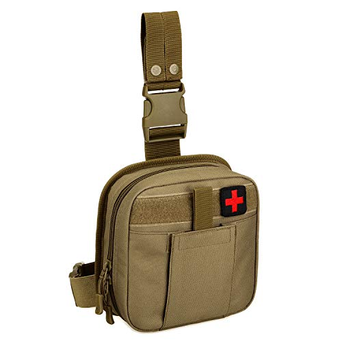 Drop Leg Bag Tool Fanny Thigh Pack, Tactical Admin Medical First Aid Kit Bag EDC Detachable and Attachable Utility MOLLE Pouch Leg Rig Paintball Airsoft Coyete Brown ()
