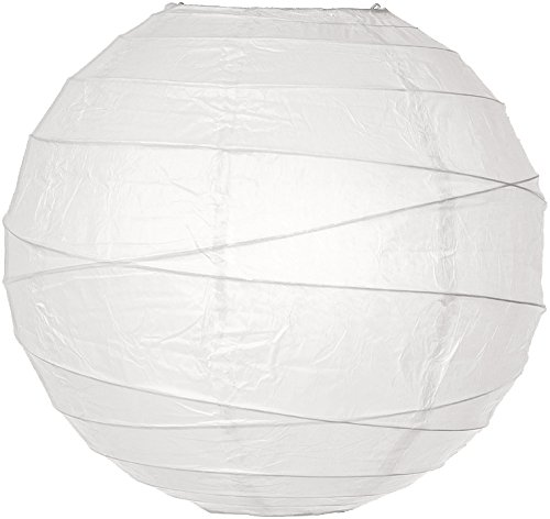 (Cultural Intrigue Luna Bazaar Paper Lantern (14-Inch, Free Style Ribbed, White) - Rice Paper Chinese/Japanese Hanging Decoration - for Home Decor, Parties, and Weddings)