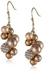 "Carolee ""Gold Pearl Basics"" Simulated Pearl and Pave Cluster Drop Earrings"