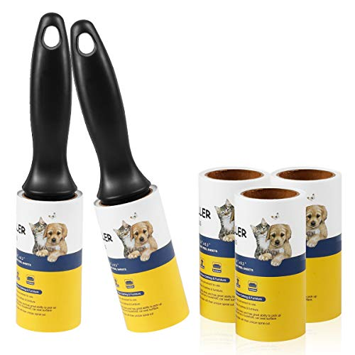 Lint Roller Pet Hair Remover - Extra Sticky Lint Tape Rollers for Clothes Dog Cat Hair Fur - 5 Pack