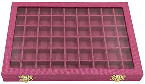 (Funnuf 54 Grids Linen Jewelry Display Storage Box Tray Holder with Glass Lid for Ring Earrings,Rose Red)