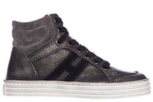 Hogan scarpe sneakers bambino pelle nuove high top rebel grigio