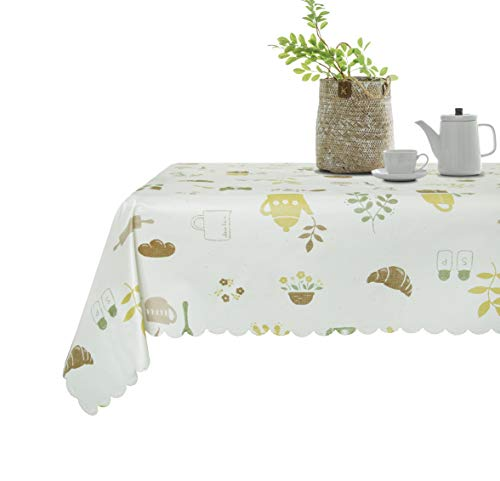 Lavin Tablecloth PVC Wipe Clean Table Cloth Waterproof Oil Cloth Heavy Duty Vinyl Table Cover Rectangle Oilproof Satin-Resistant Home Decoration(54x78in)