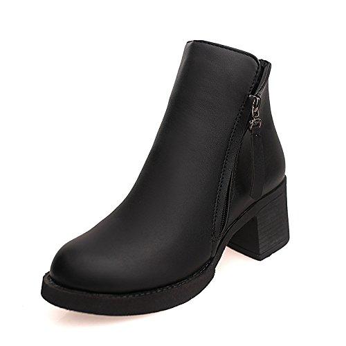 PU 1EN pequeño otoño de negro confort WIKAI rubí Zipper la mujer primavera Black Botas tacón casual bajo nBx1SqxX