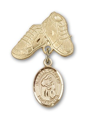 ReligiousObsession's 14K Gold Baby Badge with Blessed Caroline Gerhardinger Charm and Baby Boots Pin