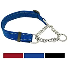 """Vcalabashor Martingale Training Dog Collars for Large & Xlarge Dogs / Premium Quality Limited Cinch Collar / 3M Reflective Stitching Nylon / Welded Steel Chain with Chrome Plating / 16-29"""" Blue"""