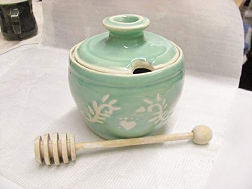 Honey Pot with Wooden Honey Dipper Ceramic Sugar Bowl Handmade Pottery Aqua Mint Stoneware ()