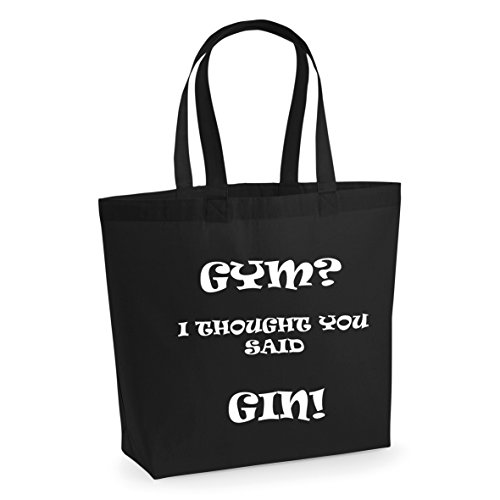 Printed You GIN With I White Funny Black Slogan Thought Tote Large Bag Said Cotton Print Yoga Shopper Bag GYM Workout ExwY4UqITI