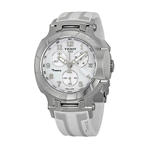 Tissot Women's 'T-Race' Swiss Quartz Stainless Steel and Rubber Sport Watch, Color White (Model: T0484171701200)