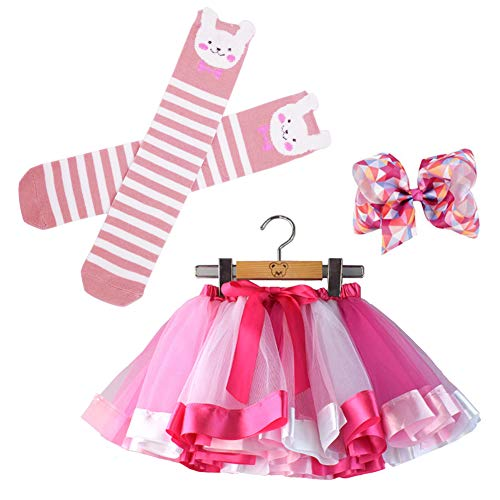 (Bingoshine Little Girls Tutu Outfit,Layered Ballet Tulle Rainbow Tutu Skirt with Hairbow and Long Stockings (Rose, L,4-8 Years))