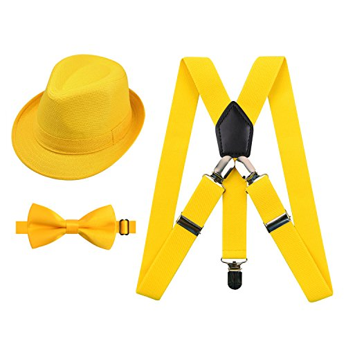 2.5cm Elastic Braces 3 Clip Suspender and Bow Tie Hat Set for Kids, Yellow -