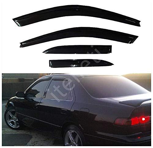 itelleti 4pcs Outside Mount Dark Smoke Sun/Rain Guard Front+Rear Tape-On Auto Window Visors For 97-01 Toyota Camry