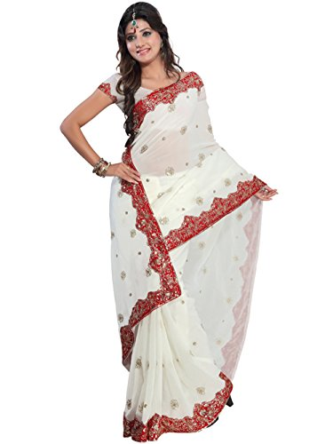 Indian Trendy Off White Bollywood Wedding Sequin Sari Saree Costume Boho Panetar Belly Dance Indian Party Wear