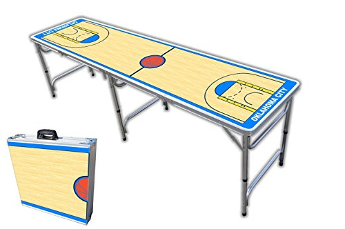 8-Foot Professional Beer Pong Table - Oklahoma City Basketball Court Graphic -