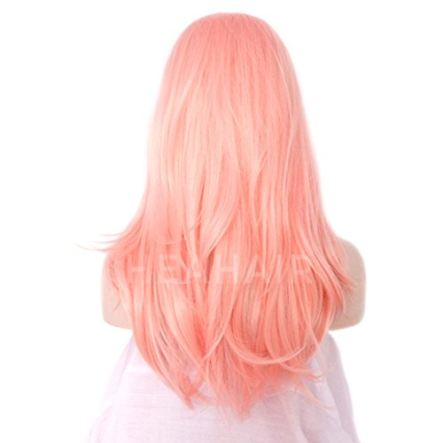 Heahair Fashion Affortable New Style Pink Color Handtied Synthetic Lace front Wig for Cosplay(Pale pink) by Heahair (Image #7)