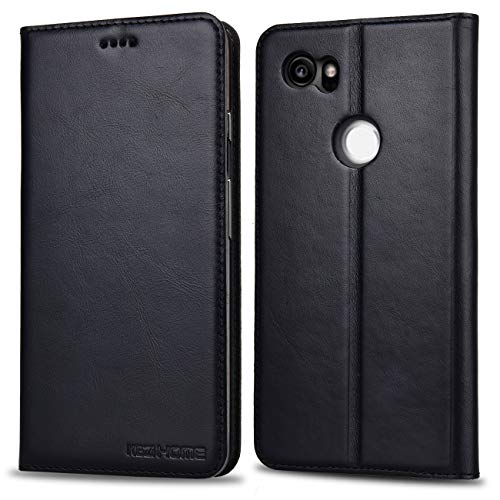 Google Pixel 2 XL Wallet Case, KEZiHOME Genuine Leather Premium Google Pixel 2 XL Case with Stand Feature and Credit Card Slot Full Protection Case for Google Pixel 2 XL 6.0 (2017 Release) (Black)