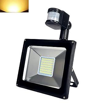 Luz cálida himanjie 50 Vatios aluminio de la lámpara LED con sensor de movimiento de la pared proyector de exterior foco reflector 220 V IP65: Amazon.es: ...