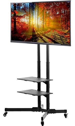 "VIVO TV Cart for LCD LED Plasma Flat Panels Stand with Wheels Mobile fits 37"" to 70"" (STAND-TV01B)"
