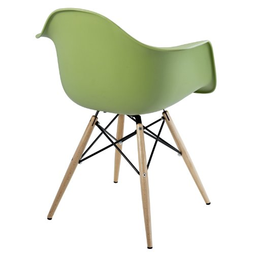 Modway Pyramid Dining Armchair with Natural Wood Legs in Green For Sale