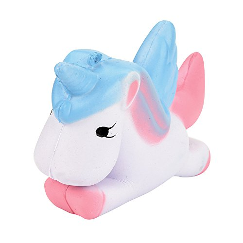 Squishies Stress Toy,1 PC Squishy Jumbo Slow Rising Toy Squeeze Soft Toy Cute Stress Relief Toys Fun Kawaii Toy Lovely Unicorn Cat Scented Toy Valentine's Day Gifts for Him&Her (Blue - 1 Keychain Pc