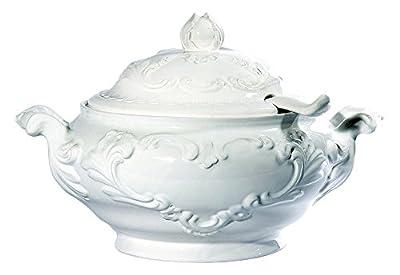 Intrada WHI7424 Baroque Soup Tureen, White