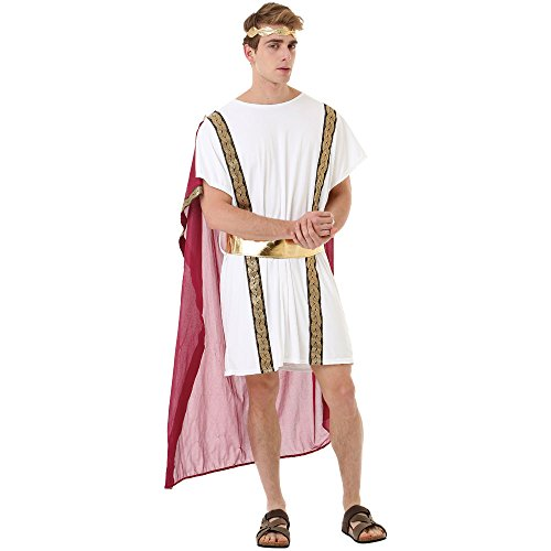 Roman Emperor Men's Halloween Costume Julius Caesar & Greek Toga King Robe, White, Medium
