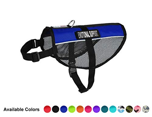 - Dogline MaxAire Multi-Purpose Mesh Vest for Dogs and 2 Removable Emotional Support Patches, Large, Blue