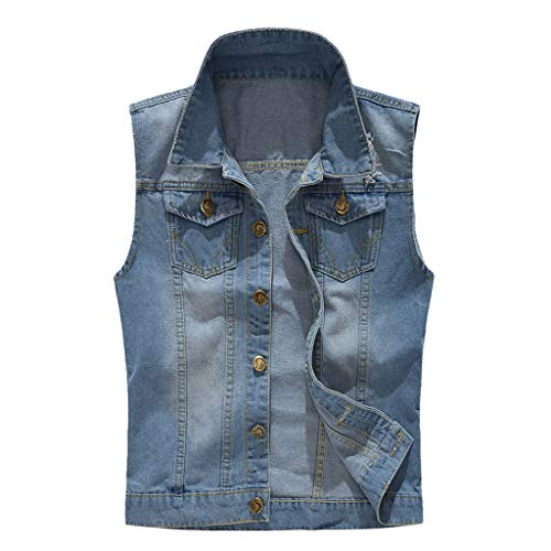 LEKODE Men Denim Vest Casual Tee Cowboy T-Shirt Jacket Tops Blouse(Blue,L(4XL)) -
