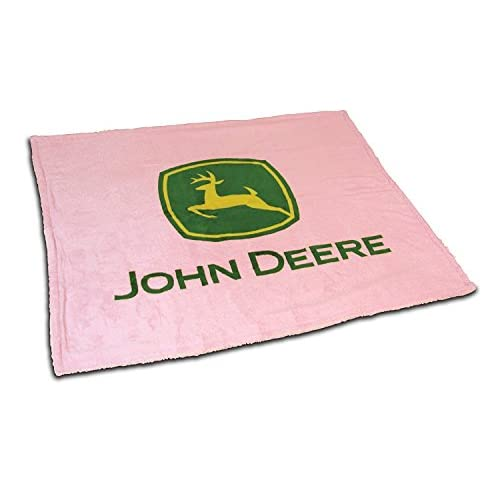 Discount John Deere Logo Pink Sherpa Fleece Throw Blanket for cheap