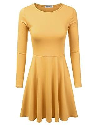 Doublju Womens Long Sleeve Flared Mini Skater Dress (Made In USA)