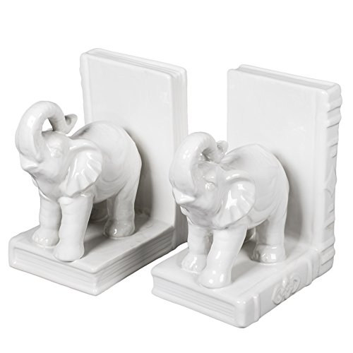 White Glazed Ceramic Elephants Bookend - Indian Bookends