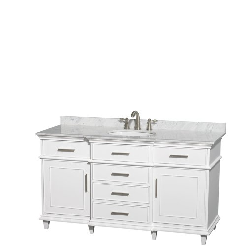Wyndham Collection Berkeley 60 inch Single Bathroom Vanity in White with White Carrera Marble Top with White Undermount Oval Sink and No Mirror