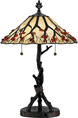 (Quoizel AG711TVA Agate Tree Tiffany Table Lamp, 2-Light, 150 Watts, Valiant Bronze (25