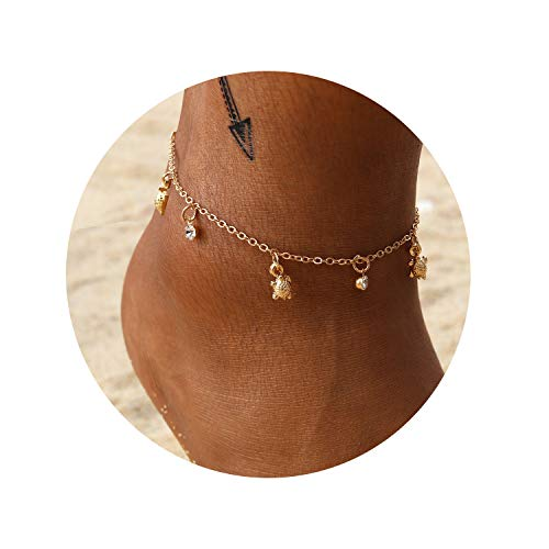(Eivanc Multilayer Metal Anklet Crystal Shell Adjustable Turtle Tassel Anklet Beads Sea Handmade Layered Boho Anklet Foot Jewelry Gold Chain Anklet Heart Beach Anklet for Women and Girls)