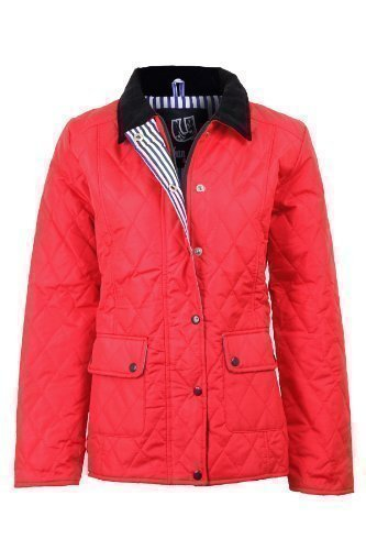 Grande Rouge Manteau clair Matelass 16 18 Tailles femmes BOUTIQUE Veste Femmes Fermeture 20 FANTASIA Neuf Bouton HBqpv