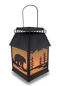 Rustic Metal Bear Themed Silhouette Electric Lantern Table Lamp