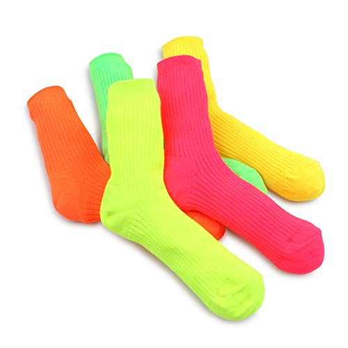Women Neon Fluorescent Crew Tube Socks 5pairs NO 15