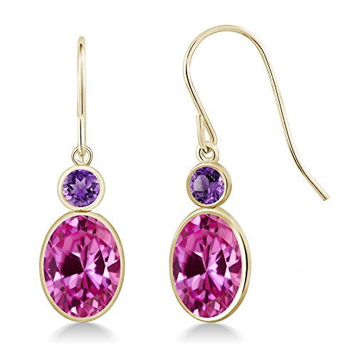 - Gem Stone King 3.50 Ct Oval Pink Created Sapphire Purple Amethyst 14K Yellow Gold Earrings