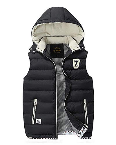 Padded Mens Hoodie Vest Insulated Jacket Vest Warm Closure Men's Quilted Quilted Unique Quilted Padded Down Front Vest Schwarz Wgn614O