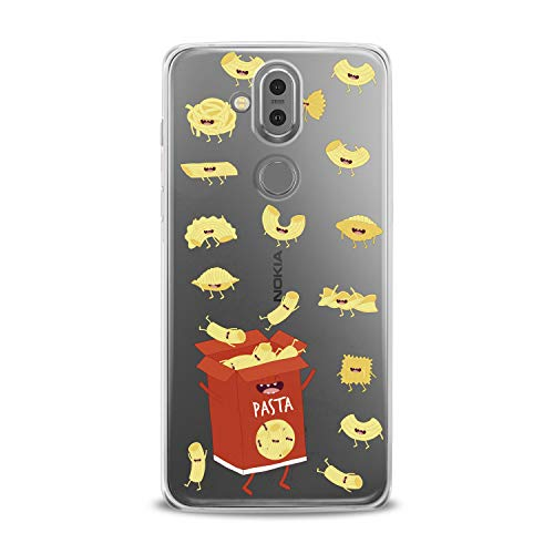 Lex Altern TPU Case Nokia 9 PureView 7 Plus 7.1 6.1 X6 5.1 Models 3.1 Clear Cute Pasts Box Red Hungry Yellow Funny Macaroni Silicone Cover Protective Flexible Girls Kawaii Design Women Transparent -