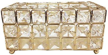 Caja de Almacenamiento de servilletas, Caja de pañuelos Dorada, Caja de pañuelos de Cristal Bandeja de Estilo Europeo Europeo innovadora Caja de ...
