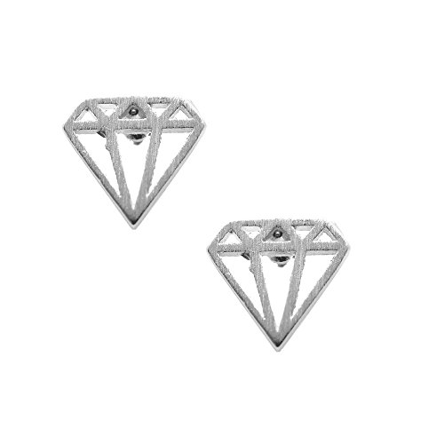 Diamond Geometric Earrings (Spinningdaisy Handcrafted Brushed Metal Diamond Shape Earrings Silver)