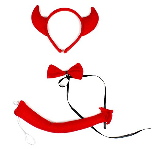[Red Devil Headband Bowtie Tail 3pc Costume for Children Halloween or Party (Red)] (Red Devil Child Costume)