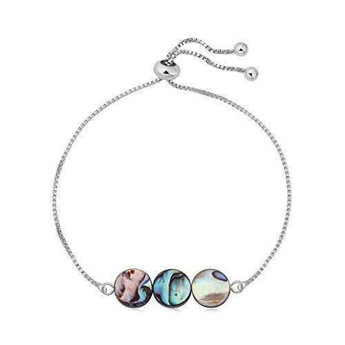 (SENFAI Abalone Shell Beaded Bracelet Charming Hand Accessory for Women Adjustable 10